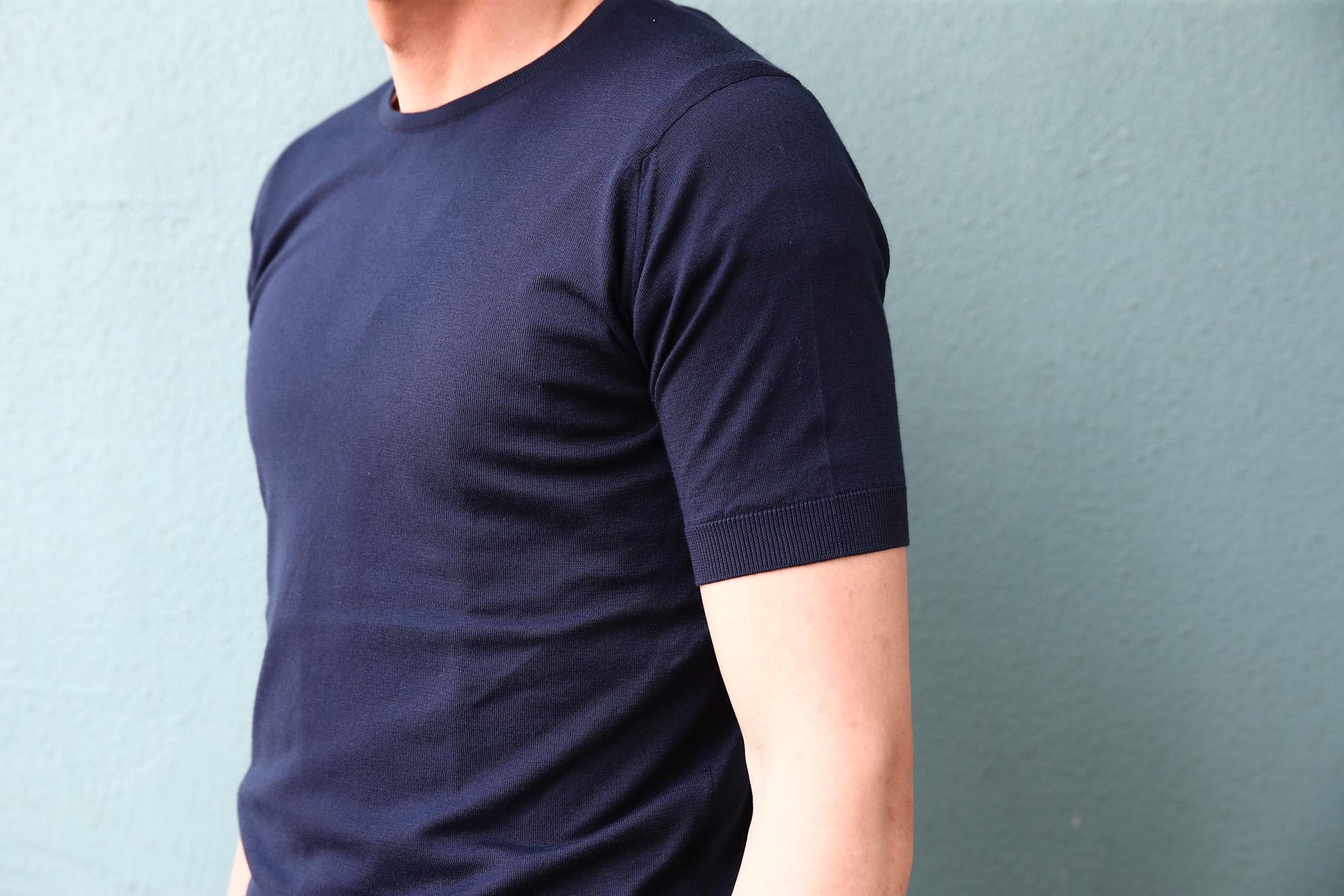 JOHN SMEDLEY (ジョンスメドレー) BELDEN (ベルデン) SEA ISLAND COTTON (シーアイランドコットン) ショートスリーブ コットンニット Tシャツ NAVY (ネイビー) Made in England (イギリス製) 2018 春夏新作 johnsmedley スメドレー 愛知 名古屋 Alto e Diritto アルト エ デリット