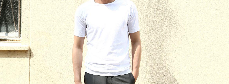JOHN SMEDLEY (ジョンスメドレー) BELDEN (ベルデン) SEA ISLAND COTTON (シーアイランドコットン) ショートスリーブ コットンニット Tシャツ WHITE (ホワイト) Made in England (イギリス製) 2018 春夏新作のイメージ