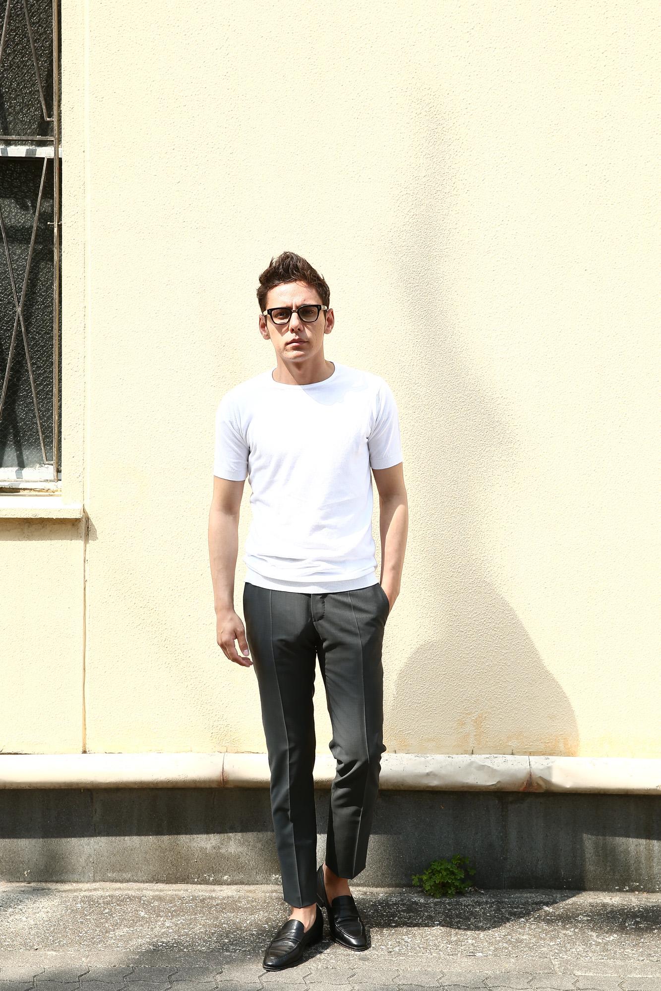 JOHN SMEDLEY (ジョンスメドレー) BELDEN (ベルデン) SEA ISLAND COTTON (シーアイランドコットン) ショートスリーブ コットンニット Tシャツ WHITE (ホワイト) Made in England (イギリス製) 2018 春夏新作 johnsmedley スメドレー 愛知 名古屋 ZODIAC ゾディアック ニットTEE