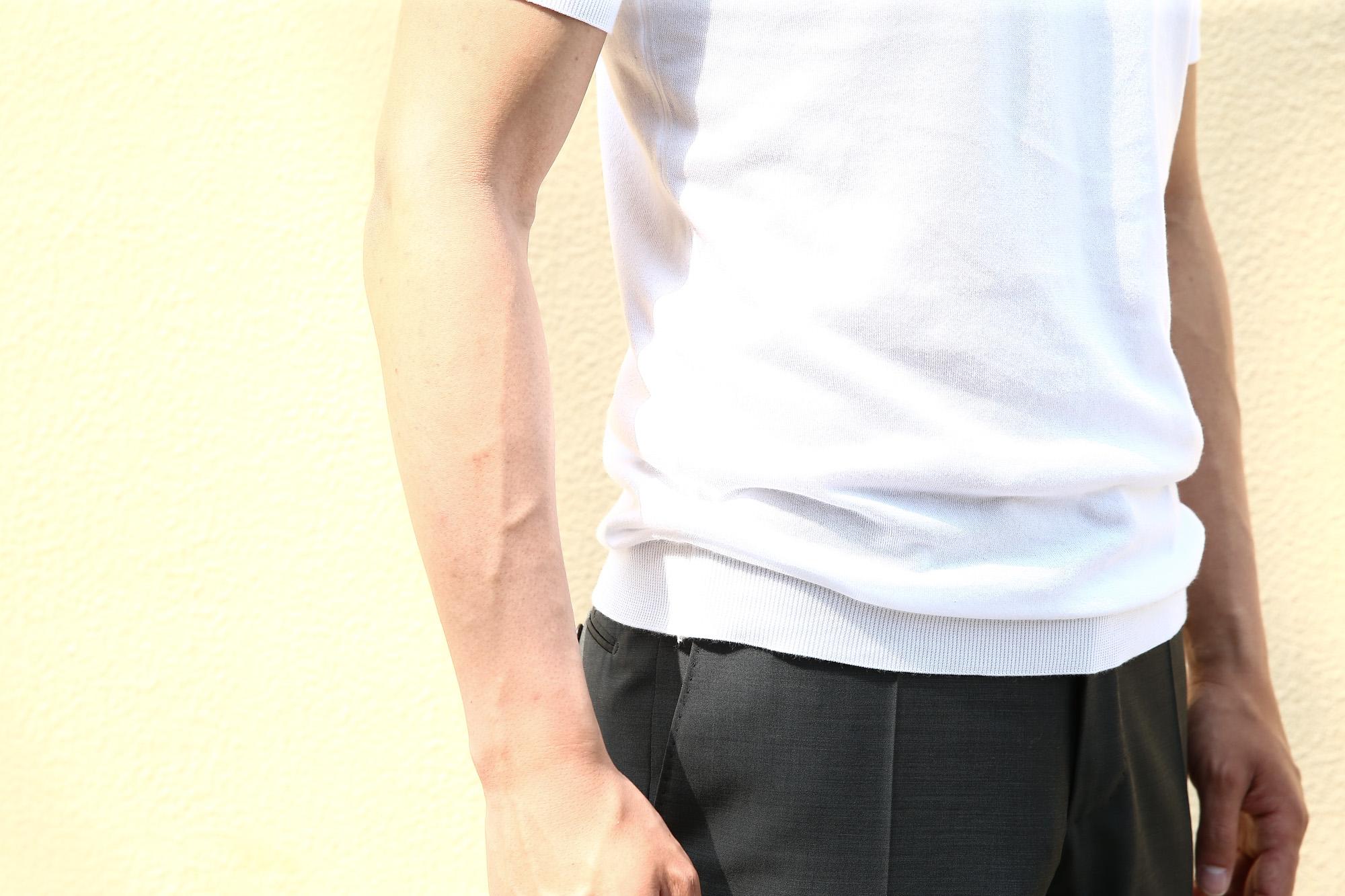 JOHN SMEDLEY (ジョンスメドレー) BELDEN (ベルデン) SEA ISLAND COTTON (シーアイランドコットン) ショートスリーブ コットンニット Tシャツ WHITE (ホワイト) Made in England (イギリス製) 2018 春夏新作 johnsmedley スメドレー 愛知 名古屋 Alto e Diritto アルト エ デリット ニットTEE