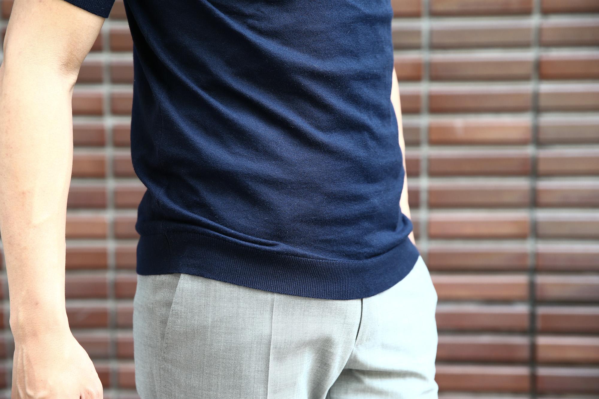 JOHN SMEDLEY (ジョンスメドレー) IMPERIAL KASHMIR (カシミアシリーズ) HADDON (ハードン) CASHMERE × SEA ISLAND COTTON (カシミア × シーアイランドコットン) ショートスリーブ コットンカシミヤニット ポロシャツ NAVY (ネイビー) Made in England (イギリス製) 2018 春夏新作 johnsmedley カシミア カシミヤ 愛知 名古屋 Alto e Diritto アルト エ デリット