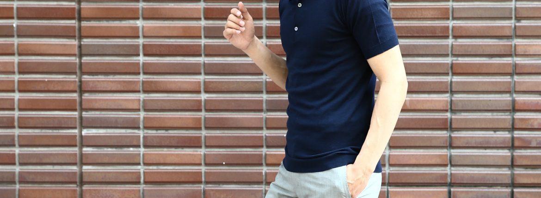 JOHN SMEDLEY (ジョンスメドレー) IMPERIAL KASHMIR (カシミアシリーズ) HADDON (ハードン) CASHMERE × SEA ISLAND COTTON (カシミア × シーアイランドコットン) ショートスリーブ コットンカシミヤニット ポロシャツ NAVY (ネイビー) Made in England (イギリス製) 2018 春夏新作 johnsmedley カシミア カシミヤ 愛知 名古屋 ZODIAC ゾディアック