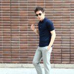 JOHN SMEDLEY (ジョンスメドレー) IMPERIAL KASHMIR (カシミアシリーズ) HADDON (ハードン) CASHMERE × SEA ISLAND COTTON (カシミア × シーアイランドコットン) ショートスリーブ コットンカシミヤニット ポロシャツ NAVY (ネイビー) Made in England (イギリス製) 2018 春夏新作のイメージ