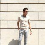 JOHN SMEDLEY (ジョンスメドレー) IMPERIAL KASHMIR (カシミアシリーズ) HADDON (ハードン) CASHMERE × SEA ISLAND COTTON (カシミア × シーアイランドコットン) ショートスリーブ コットンカシミヤニット ポロシャツ SAND STONE (サンドストーン) Made in England (イギリス製) 2018 春夏新作のイメージ