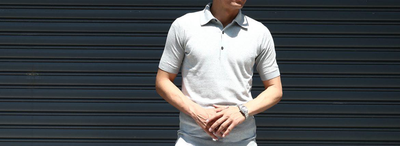 JOHN SMEDLEY (ジョンスメドレー) IMPERIAL KASHMIR (カシミアシリーズ) HADDON (ハードン) CASHMERE × SEA ISLAND COTTON (カシミア × シーアイランドコットン) ショートスリーブ コットンカシミヤニット ポロシャツ SILVER (シルバー) Made in England (イギリス製) 2018 春夏新作のイメージ