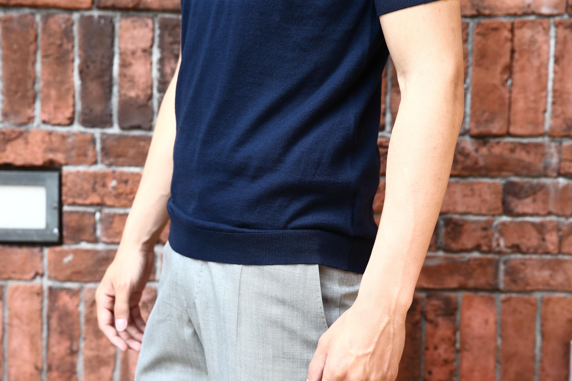 JOHN SMEDLEY (ジョンスメドレー) IMPERIAL KASHMIR (カシミアシリーズ) STONWELL (ストンウェル) CASHMERE × SEA ISLAND COTTON (カシミア × シーアイランドコットン) ショートスリーブ コットンカシミヤニット Tシャツ NAVY (ネイビー) Made in England (イギリス製) 2018 春夏新作 johnsmedley カシミア カシミヤ 愛知 名古屋 Alto e Diritto アルト エ デリット