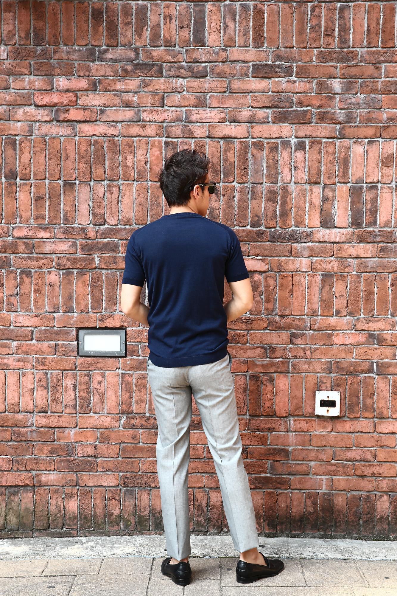 JOHN SMEDLEY (ジョンスメドレー) IMPERIAL KASHMIR (カシミアシリーズ) STONWELL (ストンウェル) CASHMERE × SEA ISLAND COTTON (カシミア × シーアイランドコットン) ショートスリーブ コットンカシミヤニット Tシャツ NAVY (ネイビー) Made in England (イギリス製) 2018 春夏新作 johnsmedley カシミア カシミヤ 愛知 名古屋 ZODIAC ゾディアック