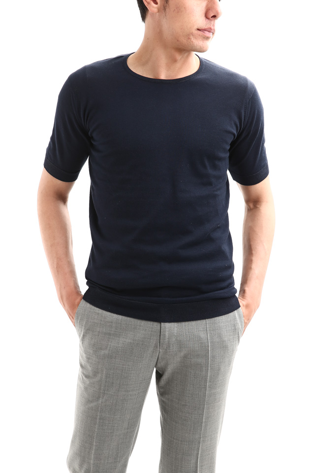 JOHN SMEDLEY (ジョンスメドレー) BELDEN (ベルデン) SEA ISLAND COTTON (シーアイランドコットン) ショートスリーブ コットンニット Tシャツ NAVY (ネイビー) Made in England (イギリス製) 2018 春夏新作