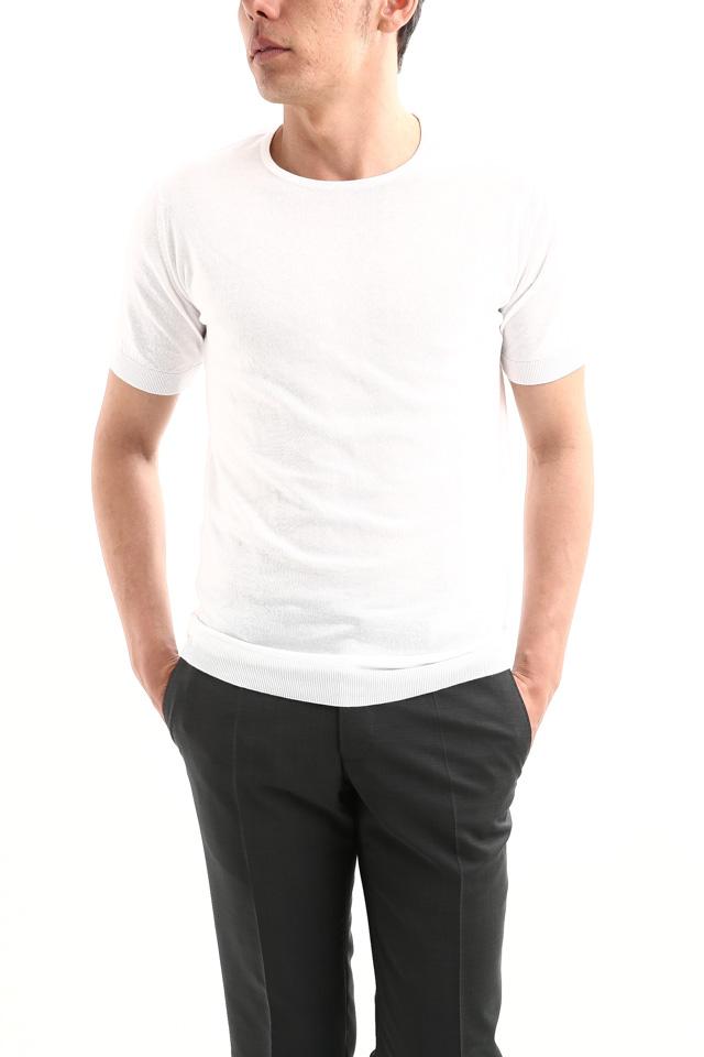 JOHN SMEDLEY (ジョンスメドレー) BELDEN (ベルデン) SEA ISLAND COTTON (シーアイランドコットン) ショートスリーブ コットンニット Tシャツ WHITE (ホワイト) Made in England (イギリス製) 2018 春夏新作