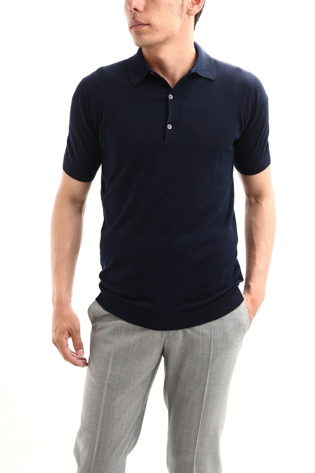 JOHN SMEDLEY (ジョンスメドレー) IMPERIAL KASHMIR (カシミアシリーズ) HADDON (ハードン) CASHMERE × SEA ISLAND COTTON (カシミア × シーアイランドコットン) ショートスリーブ コットンカシミヤニット ポロシャツ NAVY (ネイビー) Made in England (イギリス製) 2018 春夏新作