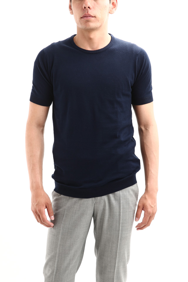 JOHN SMEDLEY (ジョンスメドレー) IMPERIAL KASHMIR (カシミアシリーズ) STONWELL (ストンウェル) CASHMERE × SEA ISLAND COTTON (カシミア × シーアイランドコットン) ショートスリーブ コットンカシミヤニット Tシャツ NAVY (ネイビー) Made in England (イギリス製) 2018 春夏新作