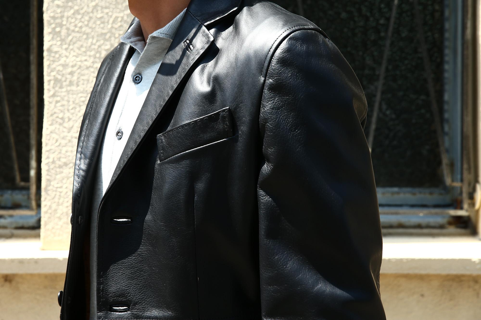 CINQUANTA (チンクアンタ) H613 SINGLE TAILORED JACKET CAVALLO (シングル テーラード ジャケット) ホースレザー ジャケット BLACK (ブラック・999) Made in italy (イタリア製) 2018 秋冬 【ご予約受付中】cinquanta チンクアンタ レザージャケット ジャケット 愛知 名古屋 ZODIAC ゾディアック