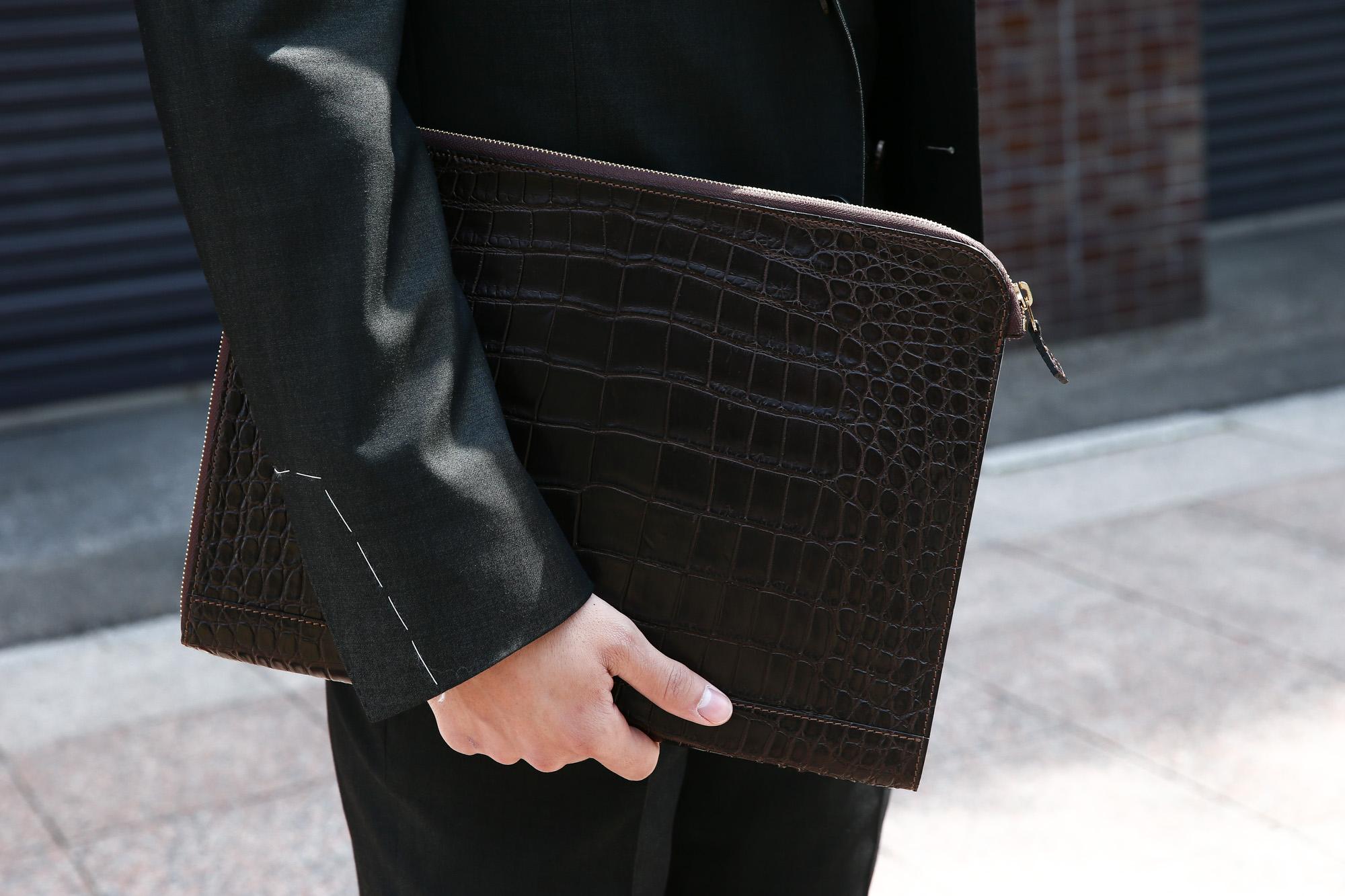 Cisei × 山本製鞄 (シセイ × 山本製鞄) Crocodile Document Case Large (クロコダイル ドキュメントケース ラージ) Nile Crocodile Leather (ワニ革) ナイル クロコダイル クラッチバッグ BLACK(ブラック),NAVY(ネイビー),BROWN(ブラウン)  Made in Japan (日本製) cisei yamamotoseiho トートバック クロコ 愛知 名古屋 ZODIAC ゾディアック