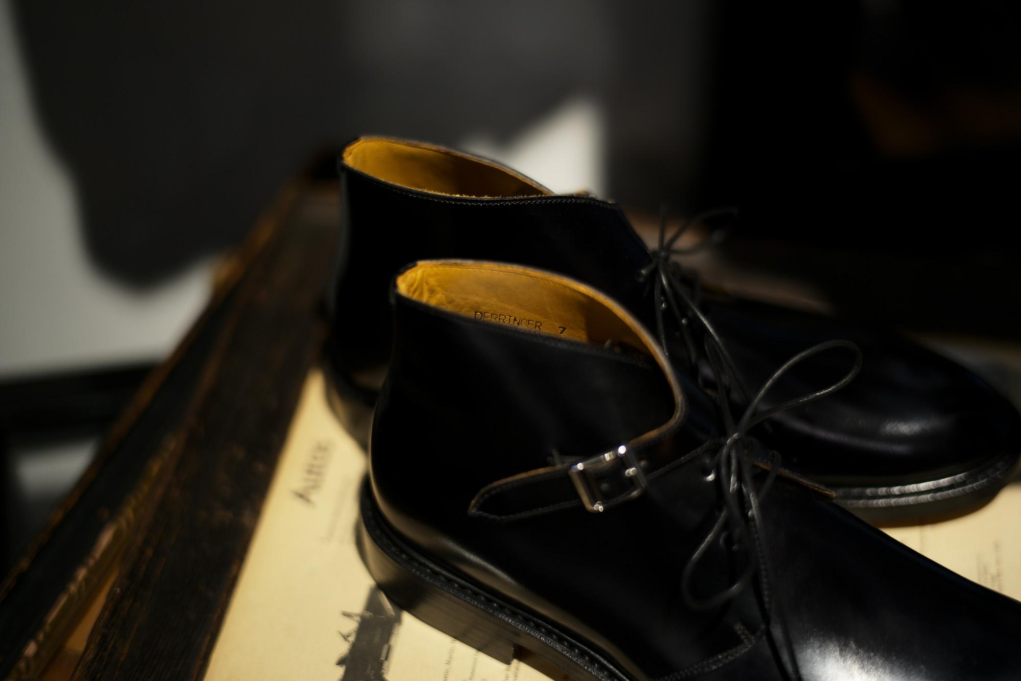 Cuervo (クエルボ) Derringer Cordovan(デリンジャー コードバン) Shell Cordovan シェルコードバンレザー Goodyear Welt Process  Double Leather Sole Chukka Boots チャッカブーツ  BLACK(ブラック・BLK) MADE IN JAPAN(日本製) 2018 春夏新作 愛知 名古屋 Alto e Diritto アルト エ デリット クエルボ チャッカブーツ コードバン 5(24),5.5(24.5),6(25),6.5(25.5),7(26),7.5(26.5),8(27),8.5(27.5),9(28)