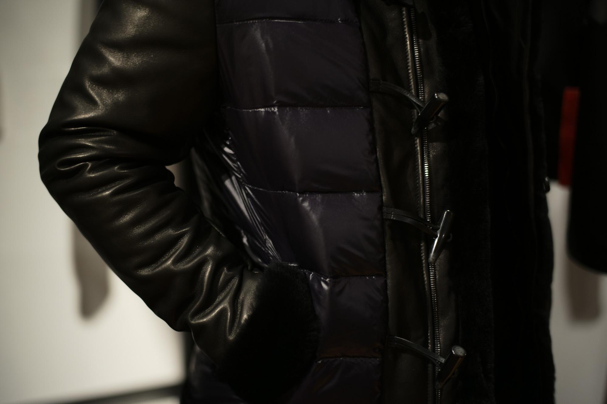 EMMETI (エンメティ) FERNANDO (フェルナンド) Lambskin Nappa Leather × Mouton × Nylon (ラムナッパレザー × ムートン × ナイロン) ムートンダウンジャケット NERO (ブラック・190/1) Made in italy (イタリア製) 2018 秋冬  emmeti ダウン ムートン レザー 愛知 名古屋 Alto e Diritto アルト エ デリット
