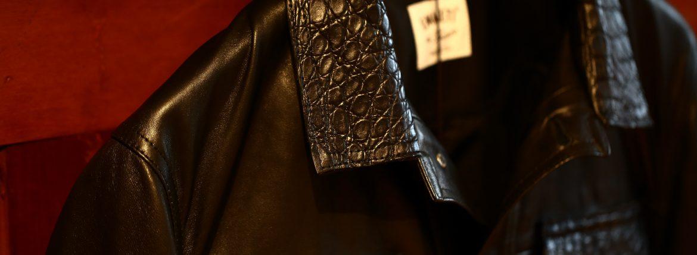 EMMETI (エンメティ) JAXON COCCODRILLO (ジャクソン コッコドリッロ) Lambskin Nappa Leather × Crocodile Leather ラムナッパレザー × クロコダイルレザー ジャケット NERO (ブラック・190/1) Made in italy (イタリア製) 2018 秋冬のイメージ
