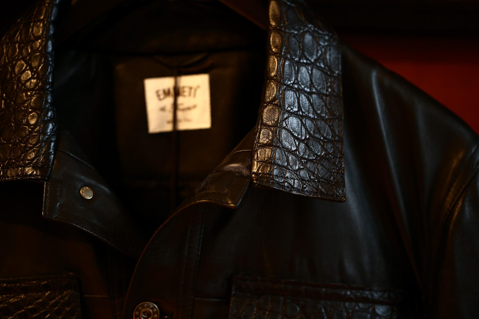 EMMETI (エンメティ) JAXON COCCO (ジャクソン コッコ) Lambskin Nappa Leather × COCCO Leather ラムナッパレザー × クロコダイルレザー ジャケット NERO (ブラック・190/1) Made in italy (イタリア製) 2018 秋冬 emmeti エンメティ 愛知 名古屋 Alto e Diritto アルト エ デリット