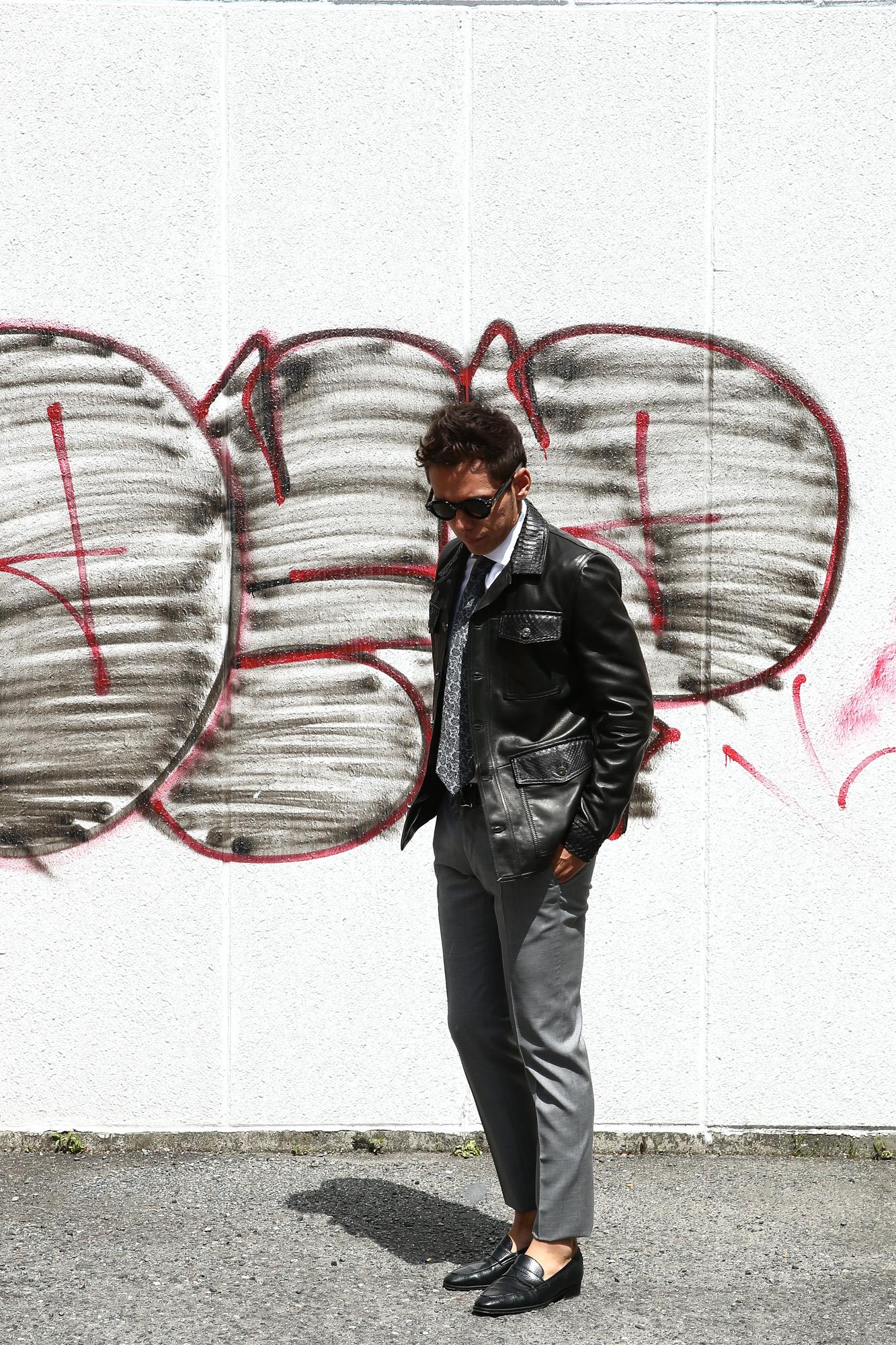 EMMETI (エンメティ) JAXON PITONE (ジャクソン ピトーネ) Lambskin Nappa Leather × Pitone Leather ラムナッパレザー × パイソンレザー ジャケット NERO (ブラック・190/1) Made in italy (イタリア製) 2018 秋冬 【ご予約受け付け中】 emmeti エンメティ レザー エキゾチックレザー パイソン ブラックパイソン 愛知 名古屋 ZODIAC ゾディアック 42,44,46,48,50,52