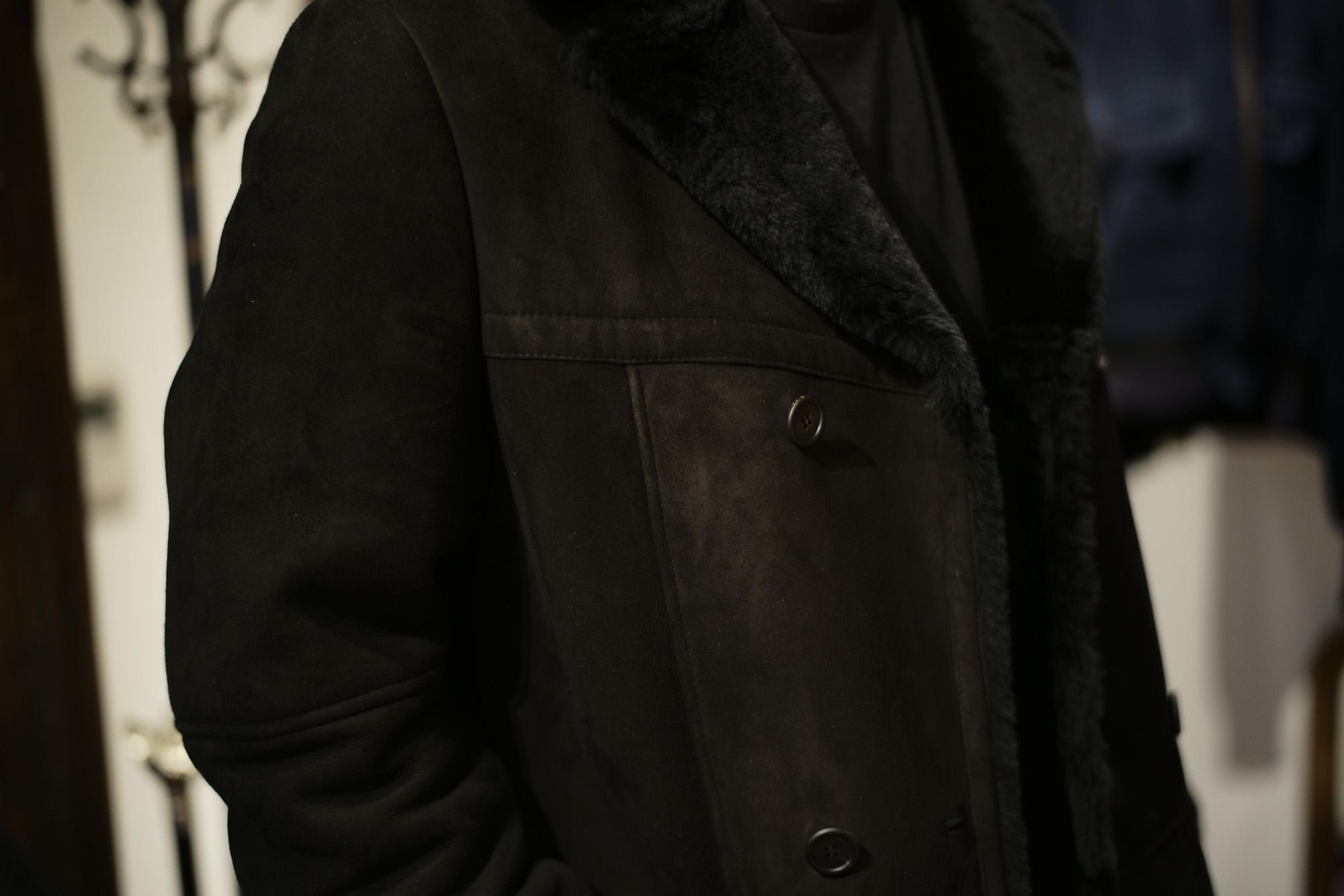 EMMETI (エンメティ) WILL (ウィル) Merino Mouton (メリノ ムートン) ダブルブレスト ムートンコート NERO (ブラック) Made in italy (イタリア製) 2018 秋冬 emmeti ムートンコート 愛知 名古屋 Alto e Diritto アルト エ デリット  42,44,46,48,50,52