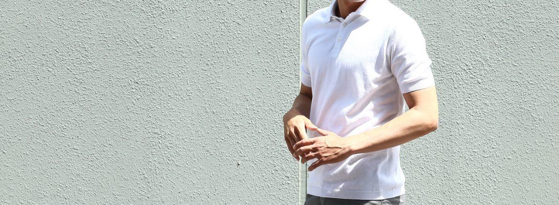 Gran Sasso (グランサッソ) Fresh Cotton Polo Shirt (フレッシュコットン ポロシャツ) FRESH COTTON (フレッシュコットン) コットン ニット ポロシャツ WHITE (ホワイト・002) made in italy (イタリア製) 2018 春夏新作のイメージ
