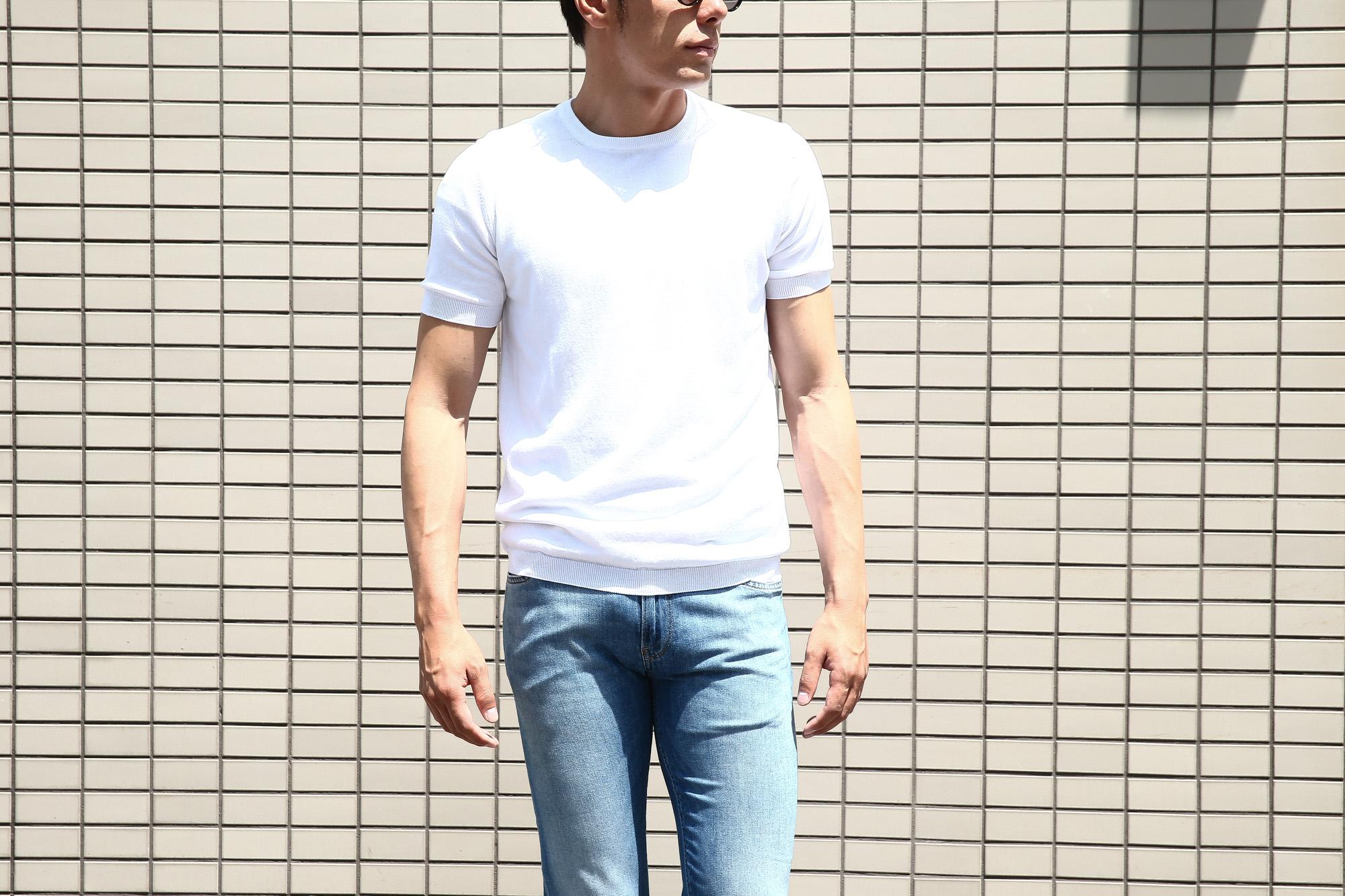 Gran Sasso (グランサッソ) Fresh Cotton T-shirt (フレッシュコットン Tシャツ) FRESH COTTON (フレッシュコットン) コットン ニット Tシャツ WHITE (ホワイト・002) made in italy (イタリア製) 2018 春夏新作 gransasso 愛知 名古屋 Alto e Diritto アルト エ デリット ニットTee