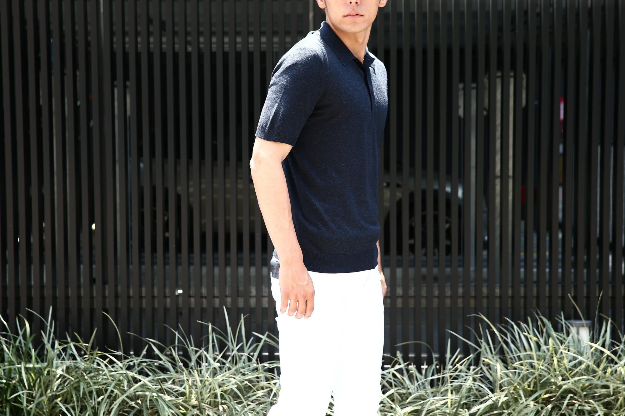 Gran Sasso (グランサッソ) Silk Knit Polo Shirt (シルクニット ポロシャツ) SETA (シルク 100%) シルク ニット ポロシャツ NAVY (ネイビー・597) made in italy (イタリア製) 2018 春夏新作  gransasso グランサッソ 愛知 名古屋 Alto e Diritto アルト エ デリット 44,46,48,50,52,54