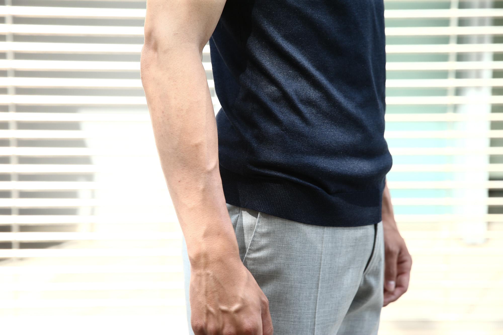 Gran Sasso (グランサッソ) Silk Knit T-shirt (シルクニット Tシャツ) SETA (シルク 100%) ショートスリーブ シルク ニット Tシャツ NAVY (ネイビー・597) made in italy (イタリア製) 2018 春夏新作 gransasso グランサッソ 愛知 名古屋 Alto e Diritto アルト エ デリット 44,46,48,50,52,54