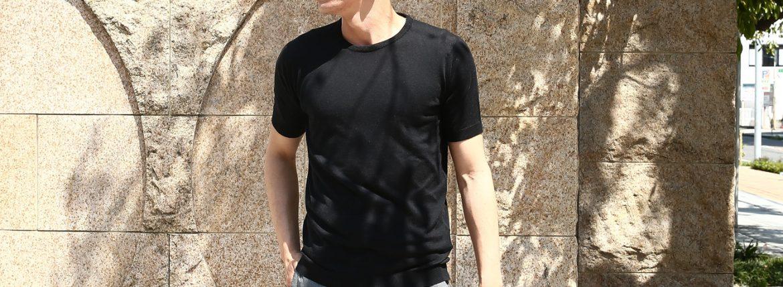 JOHN SMEDLEY (ジョンスメドレー) IMPERIAL KASHMIR (カシミアシリーズ) STONWELL (ストンウェル) CASHMERE × SEA ISLAND COTTON (カシミア × シーアイランドコットン) ショートスリーブ コットンカシミヤニット Tシャツ BLACK (ブラック) Made in England (イギリス製) 2018 春夏新作のイメージ