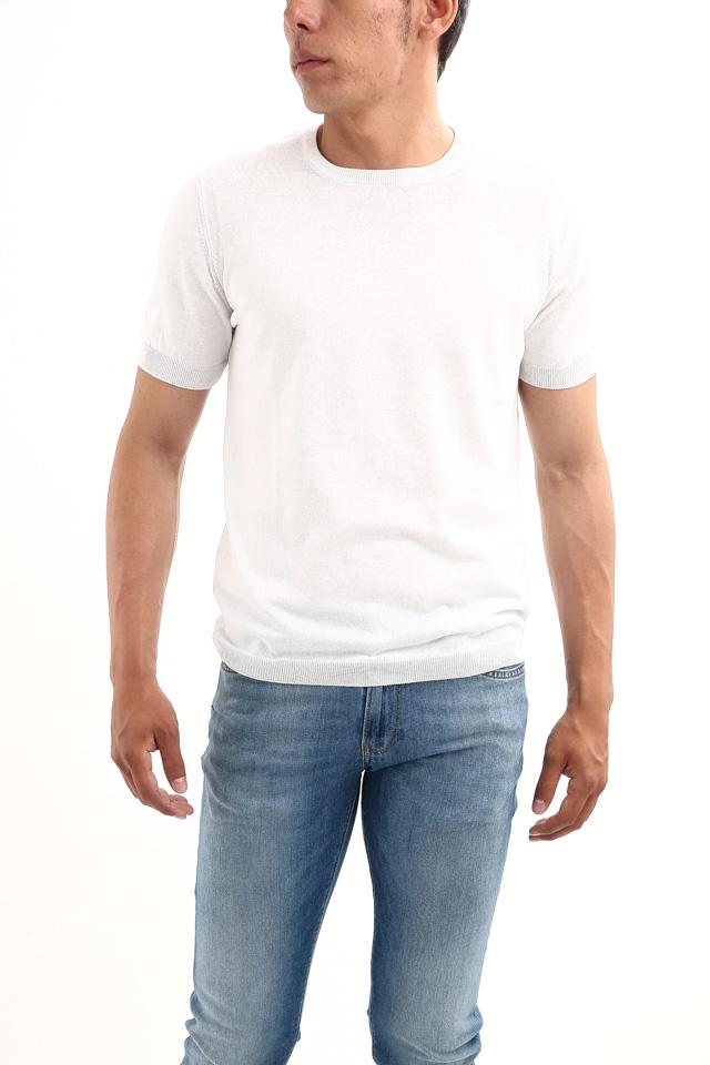 Gran Sasso (グランサッソ) Fresh Cotton T-shirt (フレッシュコットン Tシャツ) FRESH COTTON (フレッシュコットン) コットン ニット Tシャツ WHITE (ホワイト・002) made in italy (イタリア製) 2018 春夏新作