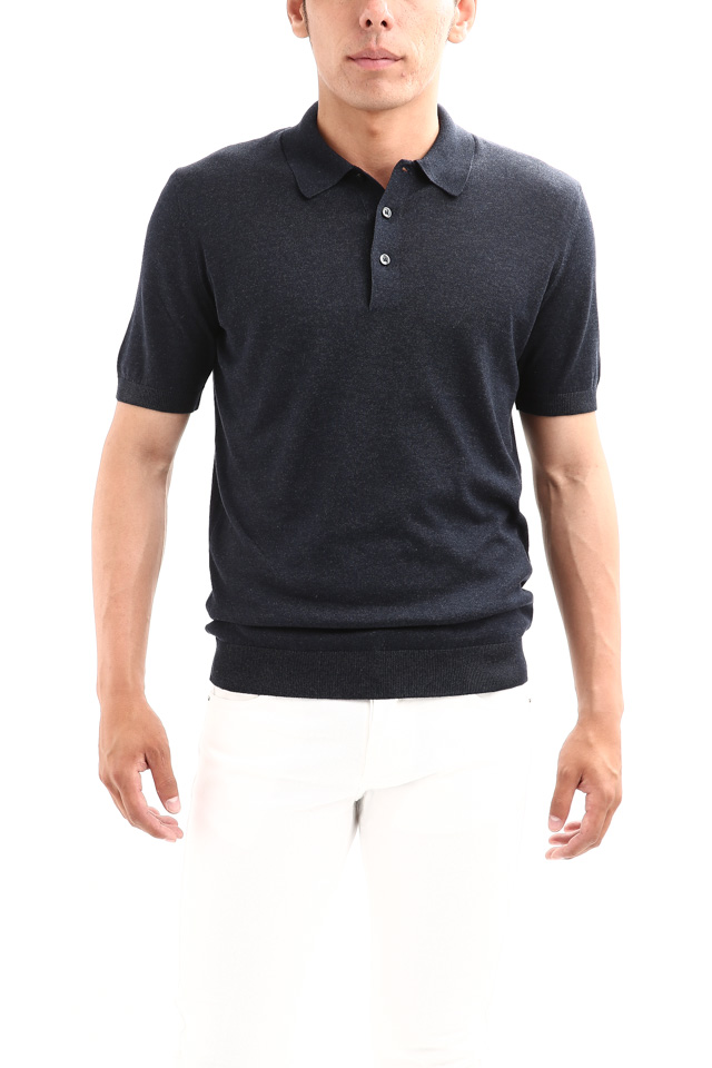 Gran Sasso (グランサッソ) Silk Knit Polo Shirt (シルクニット ポロシャツ) SETA (シルク 100%) シルク ニット ポロシャツ NAVY (ネイビー・597) made in italy (イタリア製) 2018 春夏新作