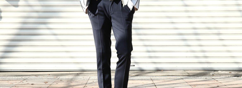 VIGANO (ヴィガーノ) WASHABLE SLACKS (ウォッシャブル スラックス) ウォッシャブル トロピカルウール テーパード 2プリーツ パンツ NAVY (ネイビー・880) 2018 春夏新作のイメージ