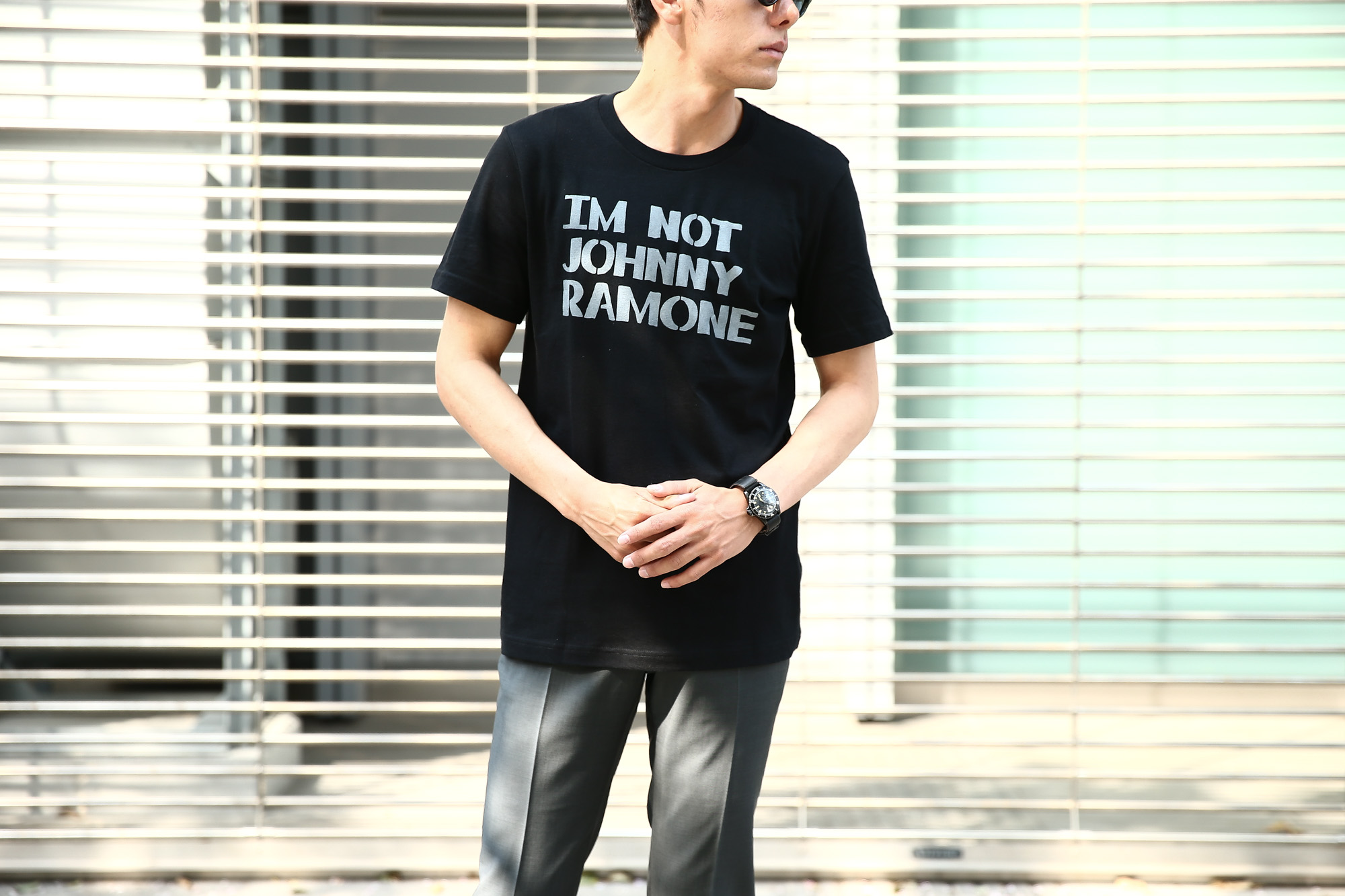 WORN FREE (ウォーンフリー) IM NOT JOHNNY RAMONE RAMONES (ジョニー・ラモーン ラモーンズ) 1977 THE WHISKY.LA プリントTシャツ バンドTシャツ ロックTシャツ BLACK (ブラック) MADE IN USA (アメリカ製) 2018春夏新作 wornfree ウォーンフリー 愛知 名古屋 Alto e Diritto アルト エ デリット ramones ラモーンズ bandtee rocktee