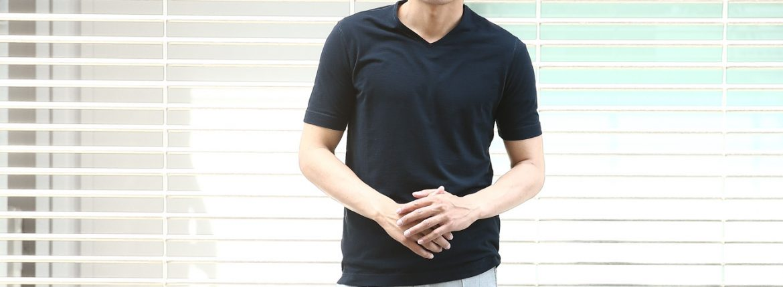 ZANONE (ザノーネ) V-neck T-shirt ice cotton(アイスコットン) 810237 Z0380 VネックTシャツ NAVY (ネイビー・Z0542) MADE IN ITALY(イタリア製) 2018 春夏新作のイメージ