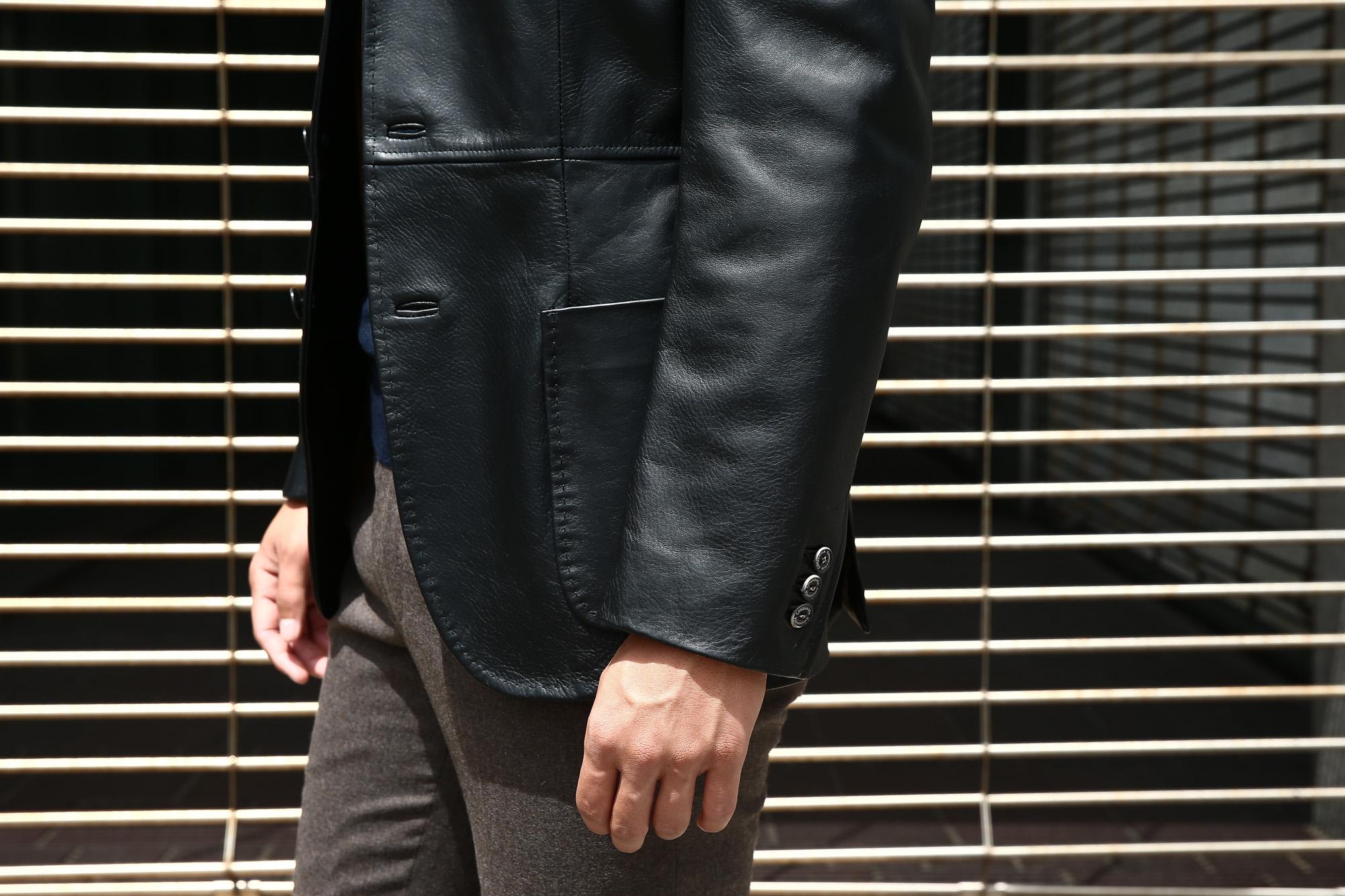 CINQUANTA (チンクアンタ) H613 SINGLE TAILORED JACKET CAVALLO (シングル テーラード ジャケット) ホースレザー ジャケット BLACK (ブラック・999) Made in italy (イタリア製) 2018 秋冬 【ご予約受付中】 cinquanta チンクアンタ レザージャケット ジャケット 愛知 名古屋 ZODIAC ゾディアック