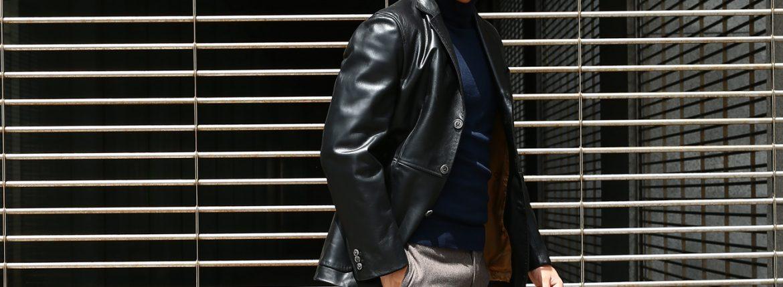 CINQUANTA (チンクアンタ) H613 SINGLE TAILORED JACKET CAVALLO (シングル テーラード ジャケット) ホースレザー ジャケット BLACK (ブラック・999) Made in italy (イタリア製) 2018 秋冬 【ご予約受付中】のイメージ
