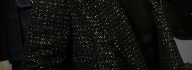 De Petrillo (デ ペトリロ) Bonifacio (ボニファシオ) ハウンドトゥース 6B ダブルチェスターコート BLACK (ブラック・455) Made in italy (イタリア製) 2018 秋冬 【ご予約受付中】のイメージ