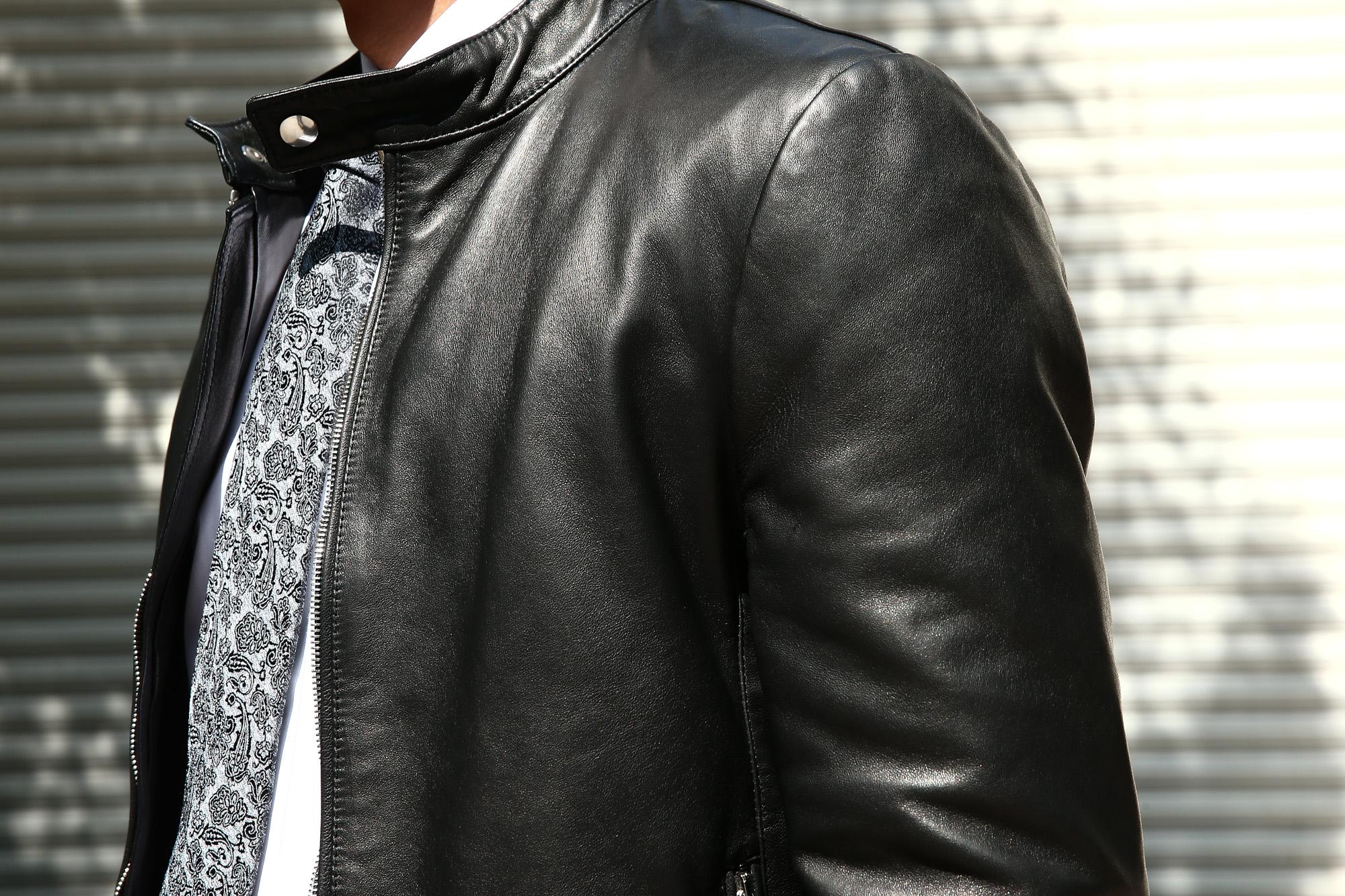 EMMETI (エンメティ) ANDREA (アンドレア) Lambskin Nappa Leather ラムナッパレザー 中綿入り シングル ライダース ジャケット NERO (ブラック・190/1) Made in italy (イタリア製) 2018 秋冬 【ご予約受け付け中】 emmeti juri ユリ 愛知 名古屋 ZODIAC ゾディアック レザージャケット シングルレザー