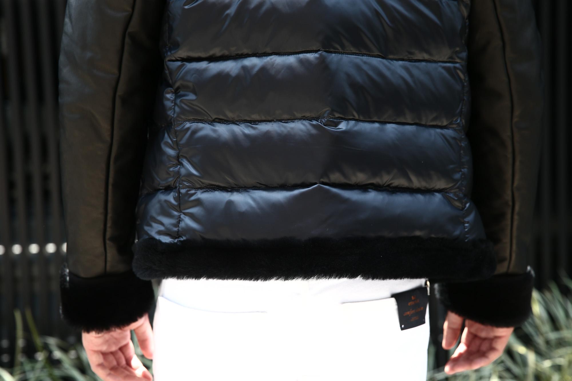 EMMETI (エンメティ) FERNANDO (フェルナンド) Lambskin Nappa Leather × Mouton × Nylon (ラムナッパレザー × ムートン × ナイロン) ムートンダウンジャケット NERO (ブラック・190/1) Made in italy (イタリア製) 2018 秋冬 【ご予約受付中】 emmeti ダウン ムートン レザー 愛知 名古屋 ZODIAC ゾディアック