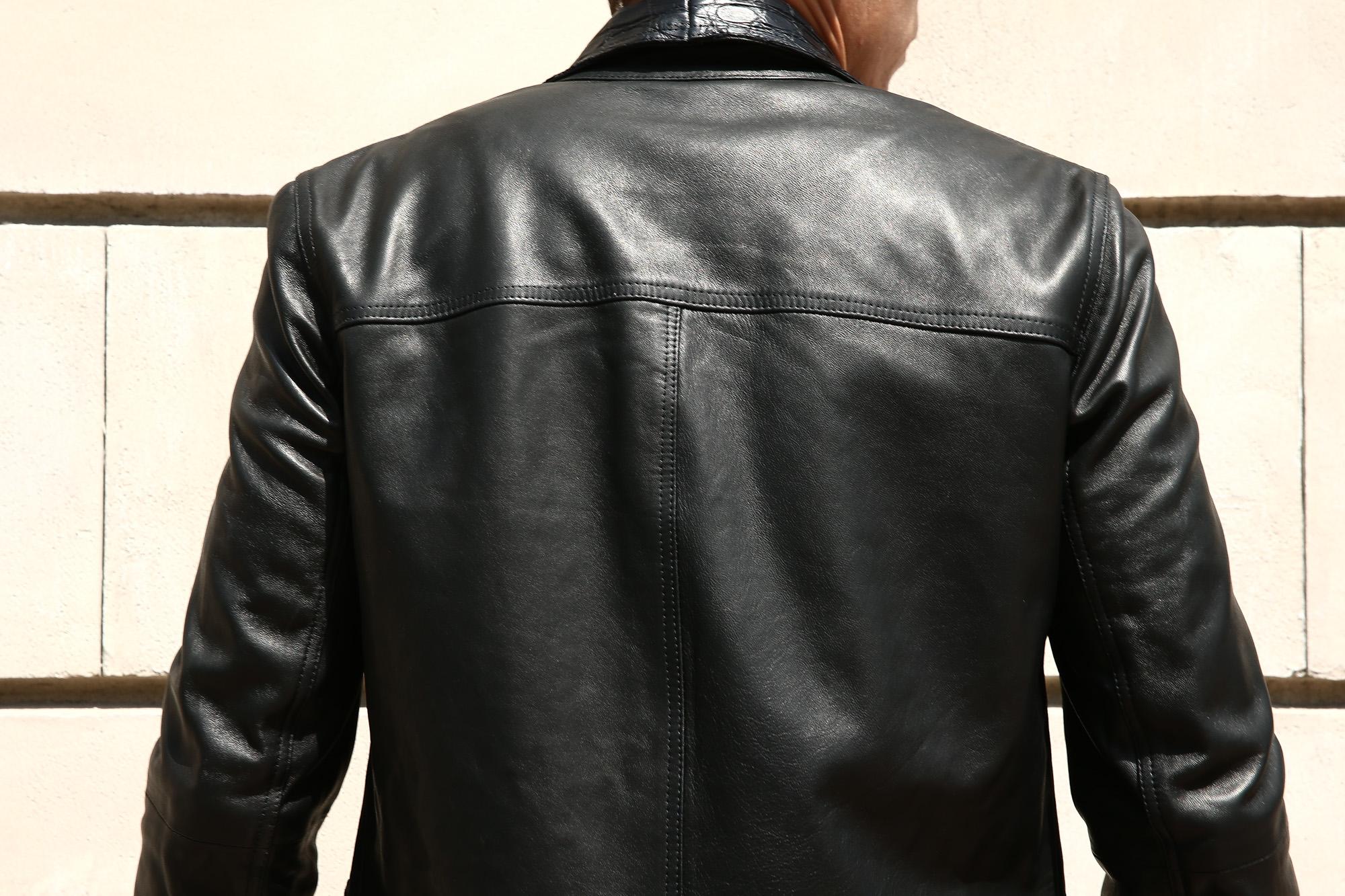 EMMETI (エンメティ) JAXON COCCODRILLO (ジャクソン コッコドリッロ) Lambskin Nappa Leather × Crocodile Leather ラムナッパレザー × クロコダイルレザー ジャケット NERO (ブラック・190/1) Made in italy (イタリア製) 2018 秋冬 emmeti エンメティ 愛知 名古屋 ZODIAC ゾディアック