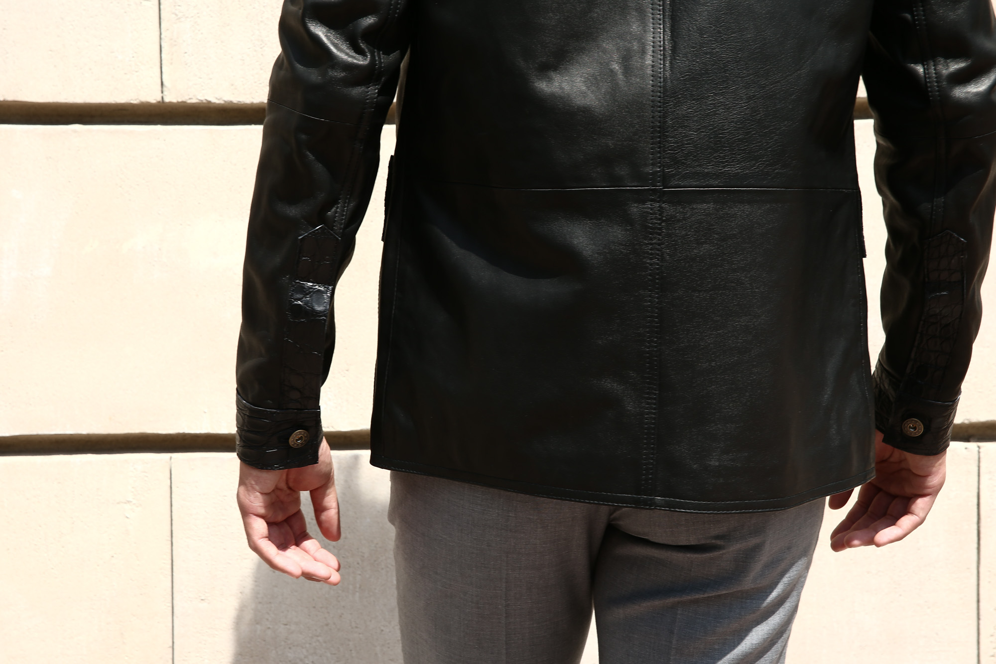 EMMETI (エンメティ) JAXON COCCODRILLO (ジャクソン コッコドリッロ) Lambskin Nappa Leather × Crocodile Leather ラムナッパレザー × クロコダイルレザー ジャケット NERO (ブラック・190/1) Made in italy (イタリア製) 2018 秋冬 emmeti エンメティ 愛知 名古屋 Alto e Diritto アルト エ デリット