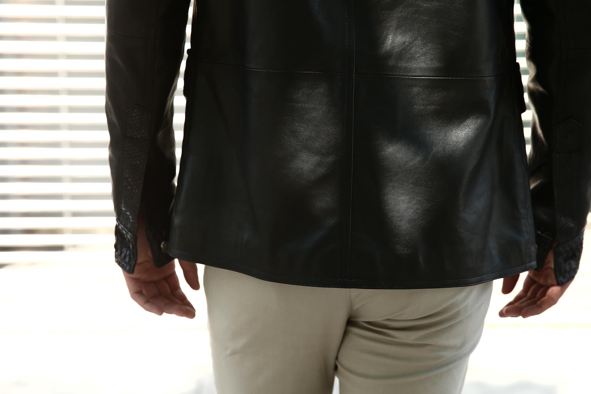 EMMETI (エンメティ) JAXON PITONE (ジャクソン ピトーネ) Lambskin Nappa Leather × Pitone Leather ラムナッパレザー × パイソンレザー ジャケット NERO (ブラック・190/1) Made in italy (イタリア製) 2018 秋冬 【ご予約受け付け中】 emmeti エンメティ レザー エキゾチックレザー パイソン ブラックパイソン 愛知 名古屋 Alto e Diritto アルト エ デリット 42,44,46,48,50,52