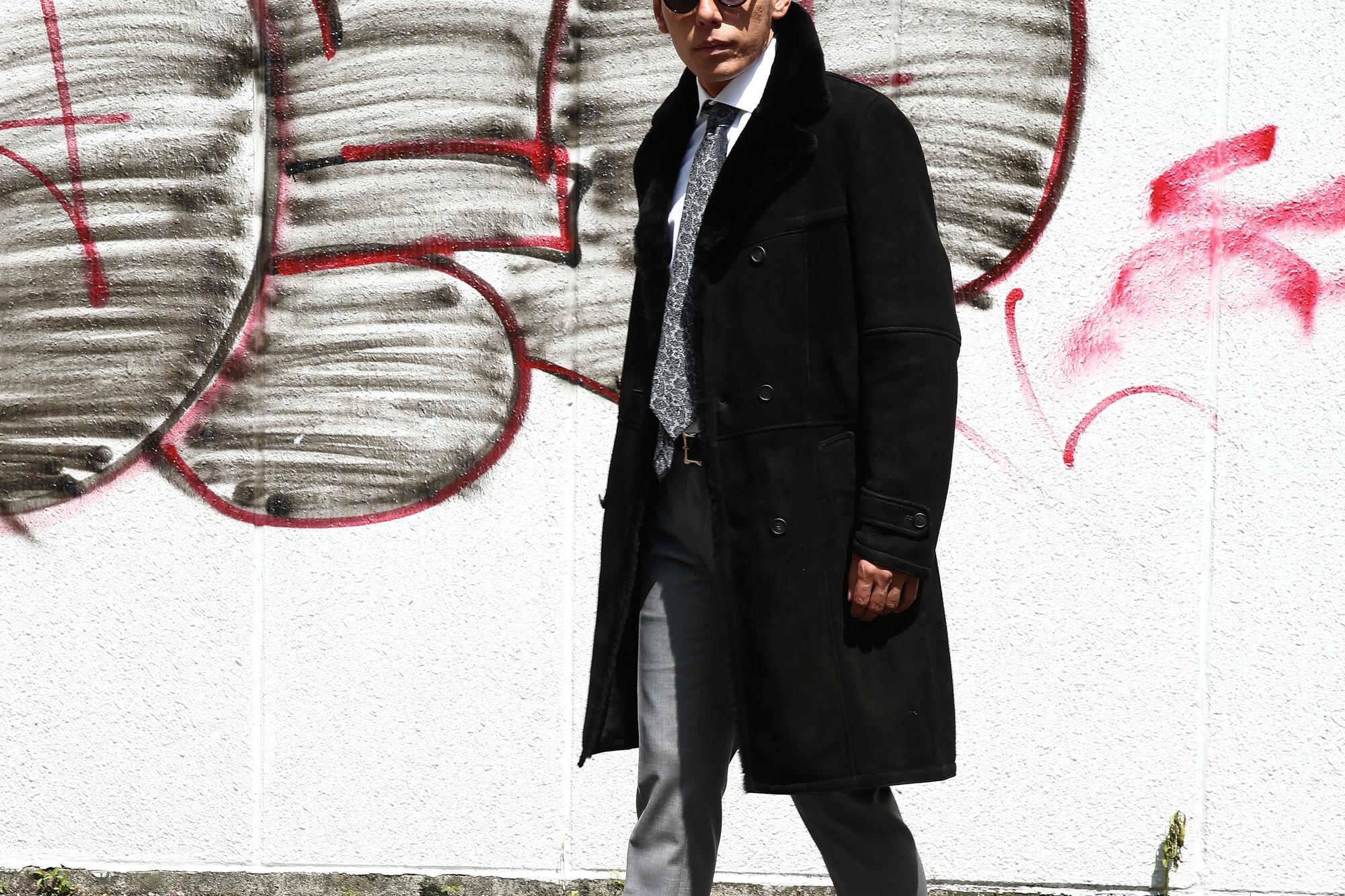 EMMETI (エンメティ) WILL (ウィル) Merino Mouton (メリノ ムートン) ダブルブレスト ムートンコート NERO (ブラック) Made in italy (イタリア製) 2018 秋冬 【ご予約受付中】emmeti ムートンコート 愛知 名古屋 ZODIAC ゾディアック  42,44,46,48,50,52