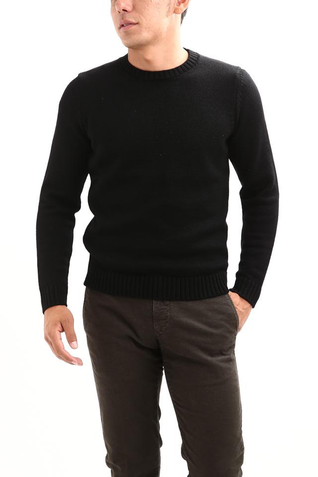 ZANONE (ザノーネ) Crew Neck Sweater (クルーネック セーター) VIRGIN WOOL 100% ミドルゲージ ウールニット セーター BLACK (ブラック・Z0015)  made in italy (イタリア製) 2018 秋冬新作