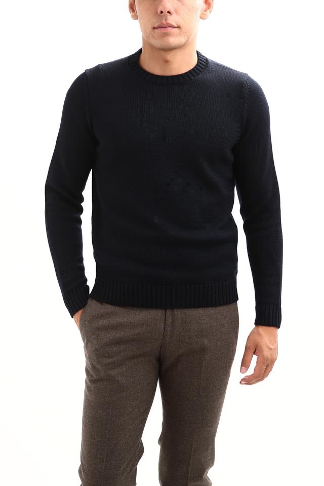 ZANONE (ザノーネ) Crew Neck Sweater (クルーネック セーター) VIRGIN WOOL 100% ミドルゲージ ウールニット セーター NAVY (ネイビー・Z1375) made in italy (イタリア製) 2018 秋冬新作