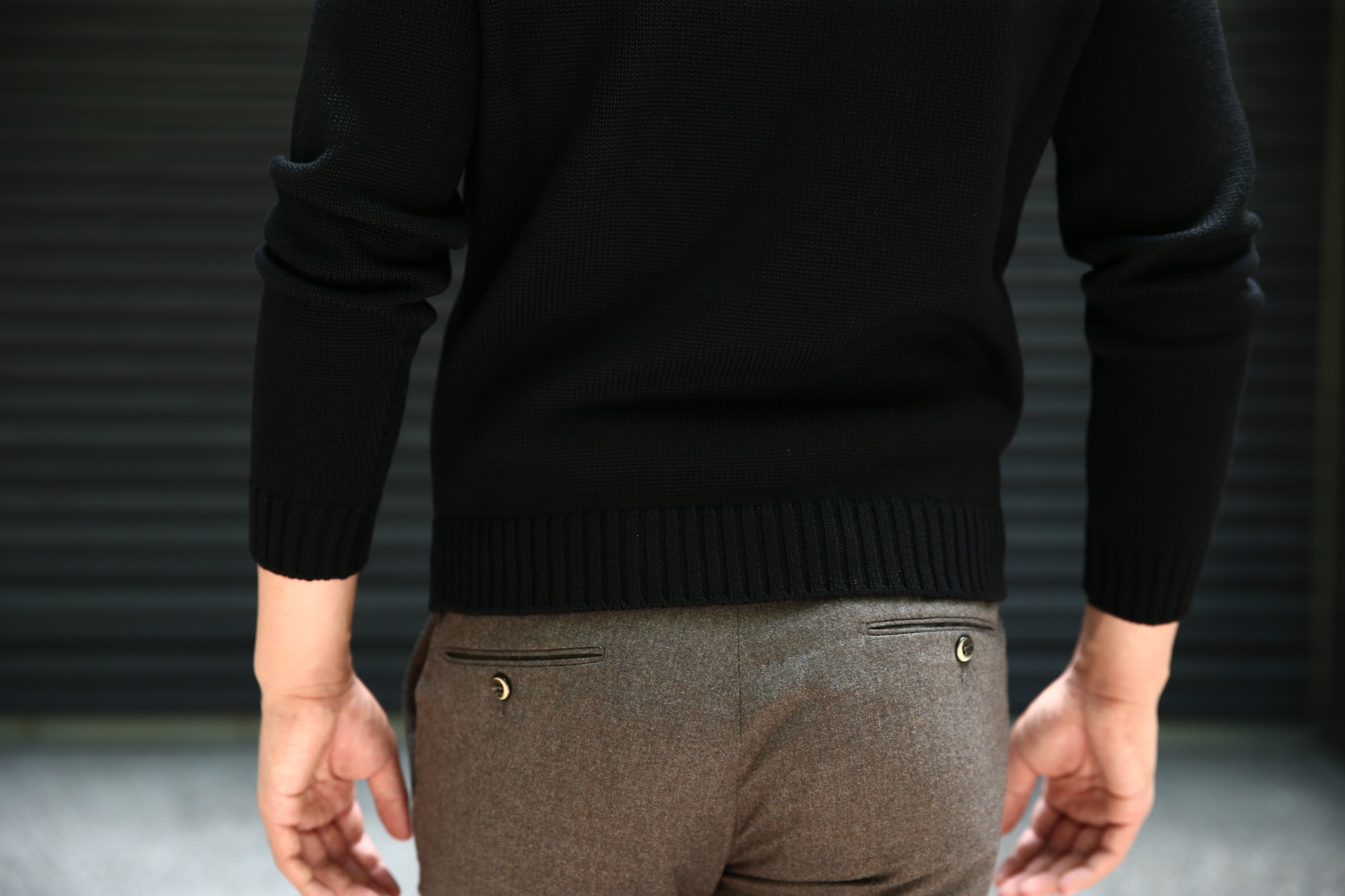 ZANONE (ザノーネ) Crew Neck Sweater (クルーネック セーター) VIRGIN WOOL 100% ミドルゲージ ウールニット セーター BLACK (ブラック・Z0015)  made in italy (イタリア製) 2018 秋冬新作 zanone 愛知 名古屋 Alto e Diritto アルト エ デリット alto e diritto アルトエデリット