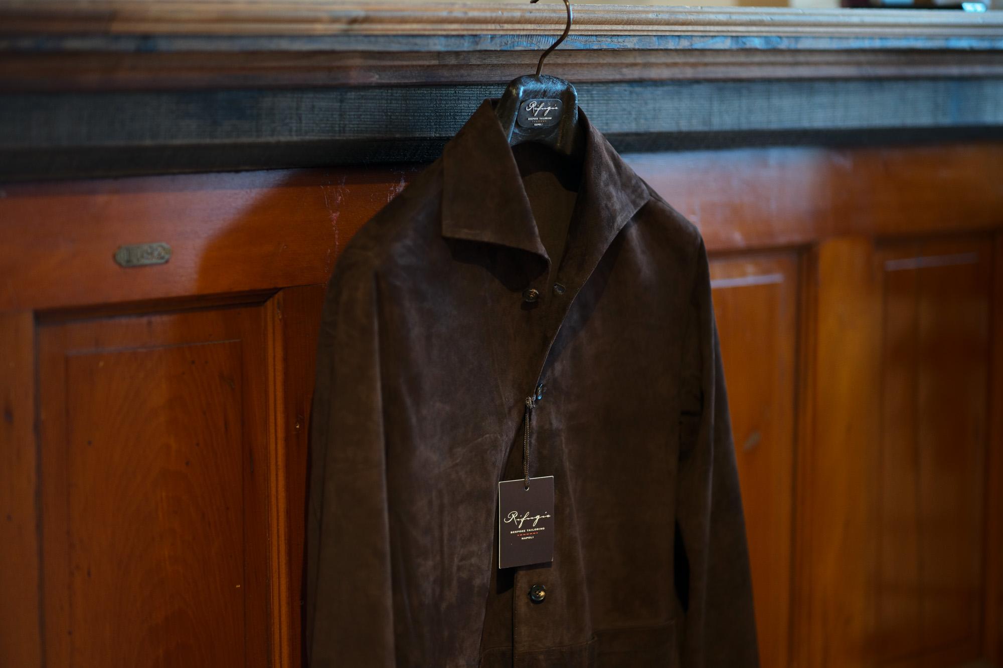 Alfredo Rifujio (アルフレード リフージオ) SS326 CAMOSCIO Summer Suede Leather Shirts サマースウェード レザーシャツ BROWN (ブラウン) made in italy (イタリア製) 2019 春夏 alfredorifujio アルフレードリフージオ 愛知 名古屋 ZODIAC ゾディアック alto e diritto アルトエデリット レザージャケット 素肌にレザー 42,44,46,48,50,52