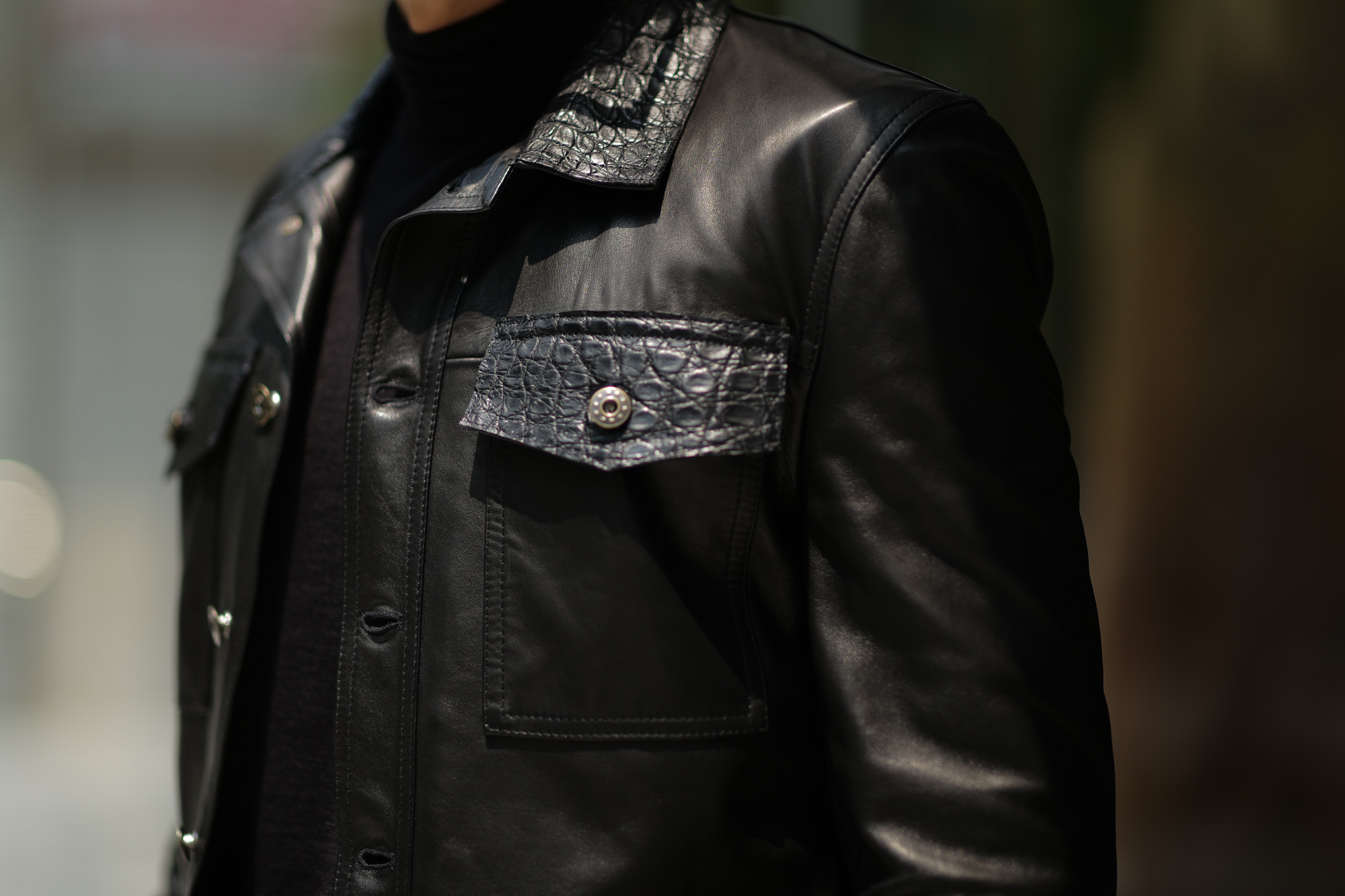 EMMETI (エンメティ) JAXON COCCODRILLO (ジャクソン コッコドリッロ) Lambskin Nappa Leather × Crocodile Leather ラムナッパレザー × クロコダイルレザー ジャケット NERO (ブラック・190/1) Made in italy (イタリア製) 2018 秋冬 【ご予約受け付け中】 emmeti エンメティ 愛知 名古屋 ZODIAC ゾディアック