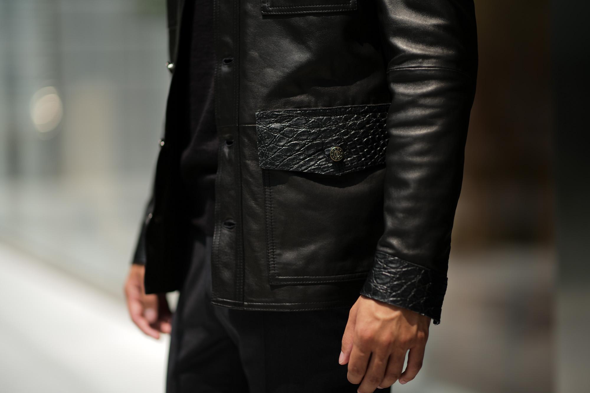 EMMETI (エンメティ) JAXON COCCODRILLO (ジャクソン コッコドリッロ) Lambskin Nappa Leather × Crocodile Leather ラムナッパレザー × クロコダイルレザー ジャケット NERO (ブラック・190/1) Made in italy (イタリア製) 2018 秋冬 【ご予約受け付け中】 emmeti エンメティ 愛知 名古屋 Alto e Diritto アルト エ デリット