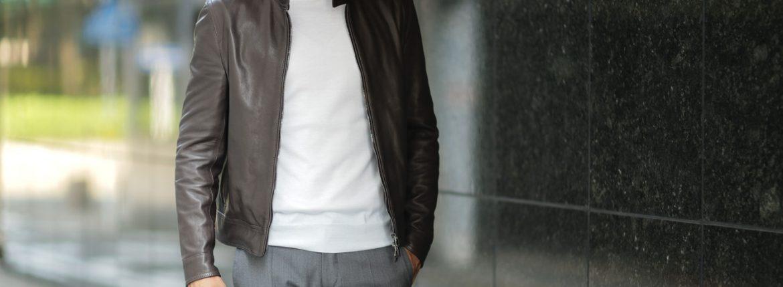 EMMETI(エンメティ) JURI(ユリ) Lambskin nappa シングルライダース レザージャケット T.MORO (ブラウン) made in italy (イタリア製) 2018 秋冬 【第2便ご予約受付中】のイメージ