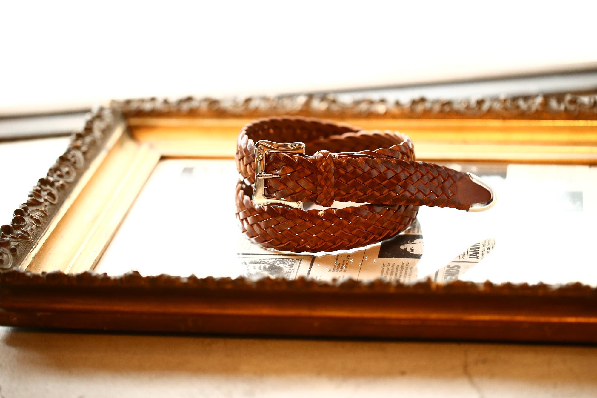 J&M DAVIDSON (ジェイアンドエムデヴィッドソン) ENVELOPE BUCKLE TIP END PLAITED BELT 30MM (エンベロープバックルチップエンドプレーテッドベルト 30mm) 1364 CALF LEATHER (カーフレザー) プンターレ メッシュベルト TAN (タン・290) Made in italy (イタリア製) 愛知 名古屋 Alto e Diritto アルト エ デリット jmdavidson ジェイエムデヴィッドソン ベルト メッシュ